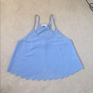 Baby Blue Scalloped Hem Crop Top